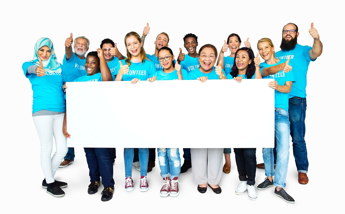 Group of people volunteer with empty board advertising