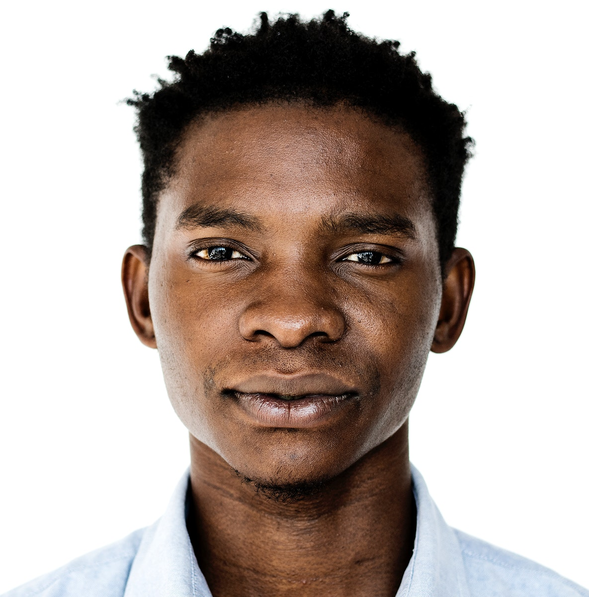Worldface-Ugandan man in a white background