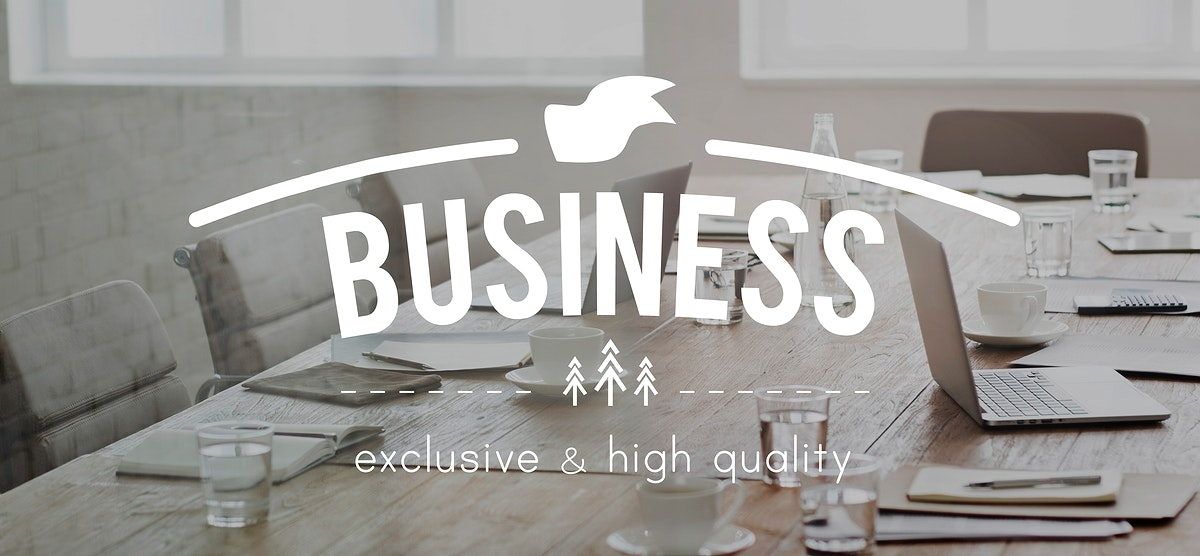 Business word banner on meeting room background