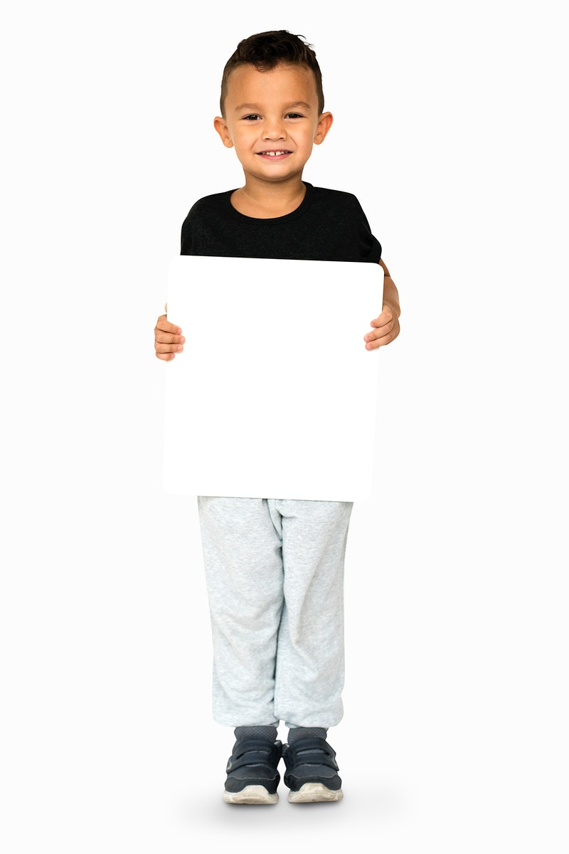 Happiness little boy smiling holding blank placard