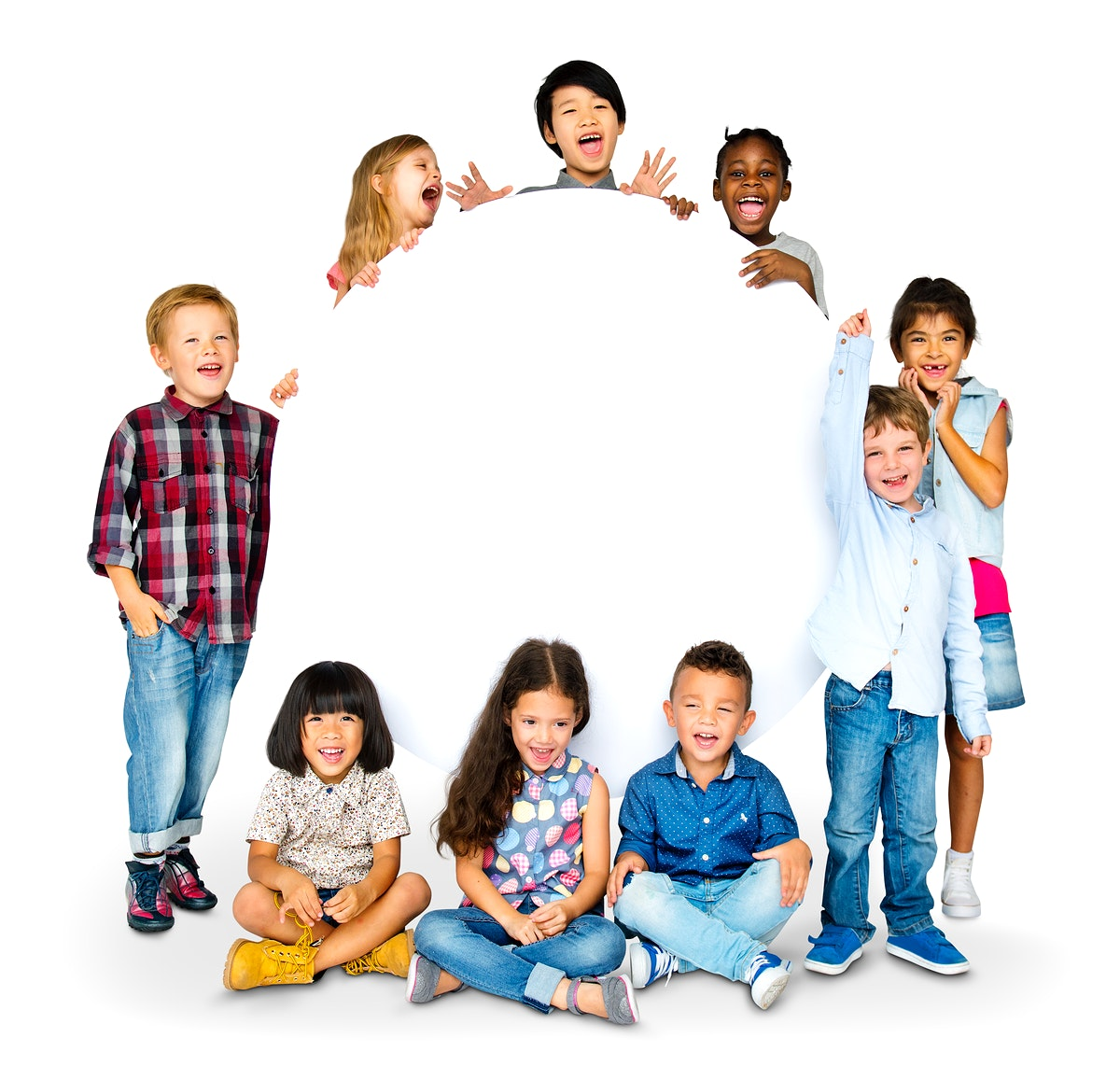 Happiness group of cute and adorable children with copy space