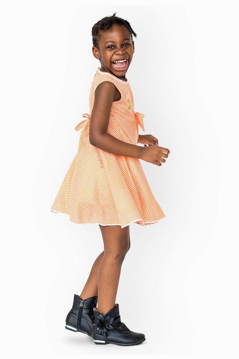 Cheerful little girl having fun