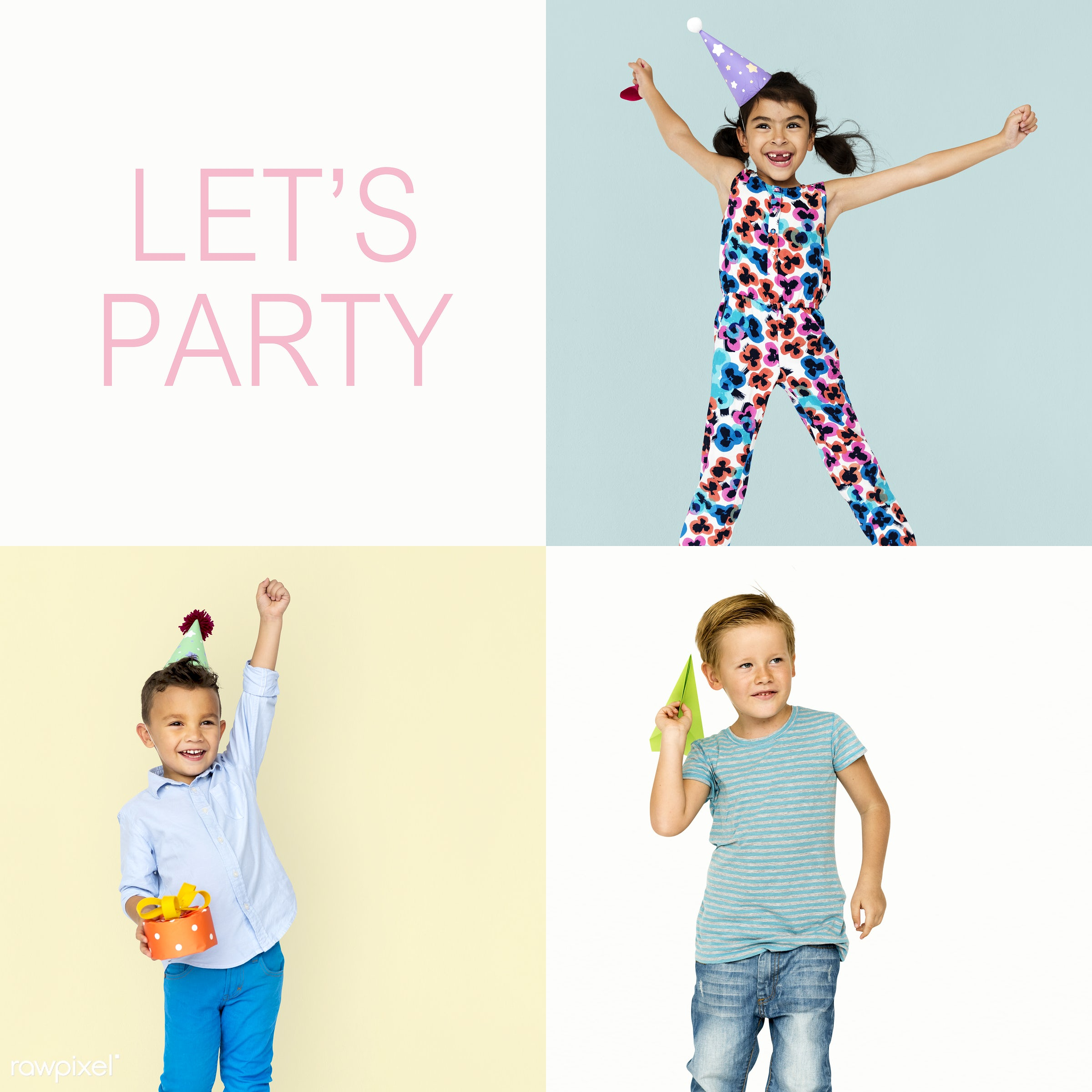 Set of portraits with celebration and happiness concepts - studio, relax, party, positivity, lifestyle, positive, smiling,...