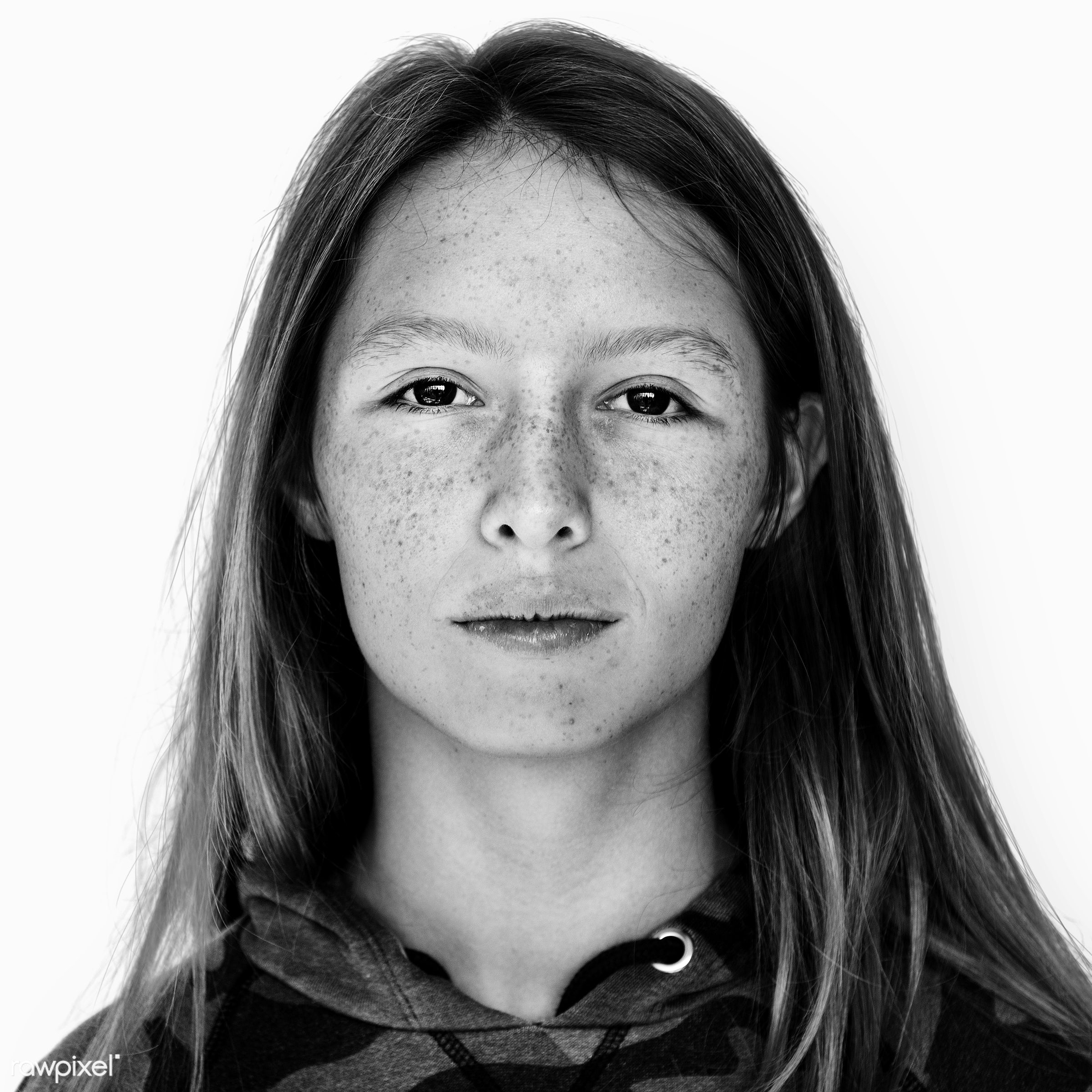 Portrait of an Australian girl - young, alone, australia, australian, black and white, casual, emotion, expression, face,...