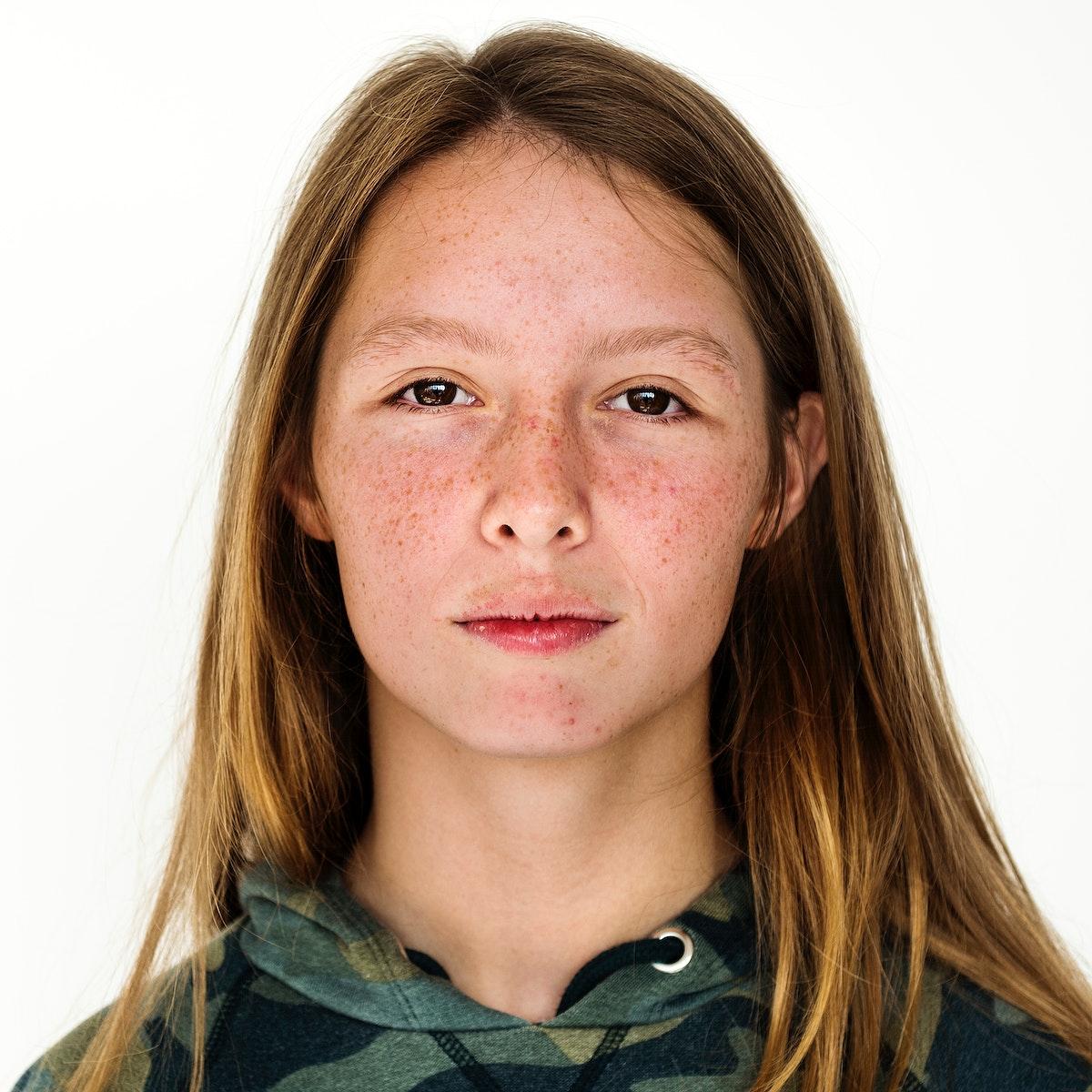 Worldface-Australian girl in a white background