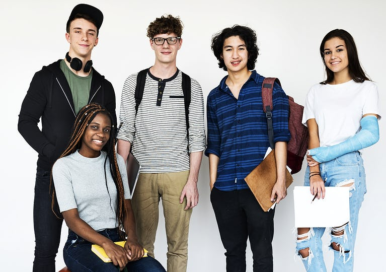 Diverse group of teenagers shoot