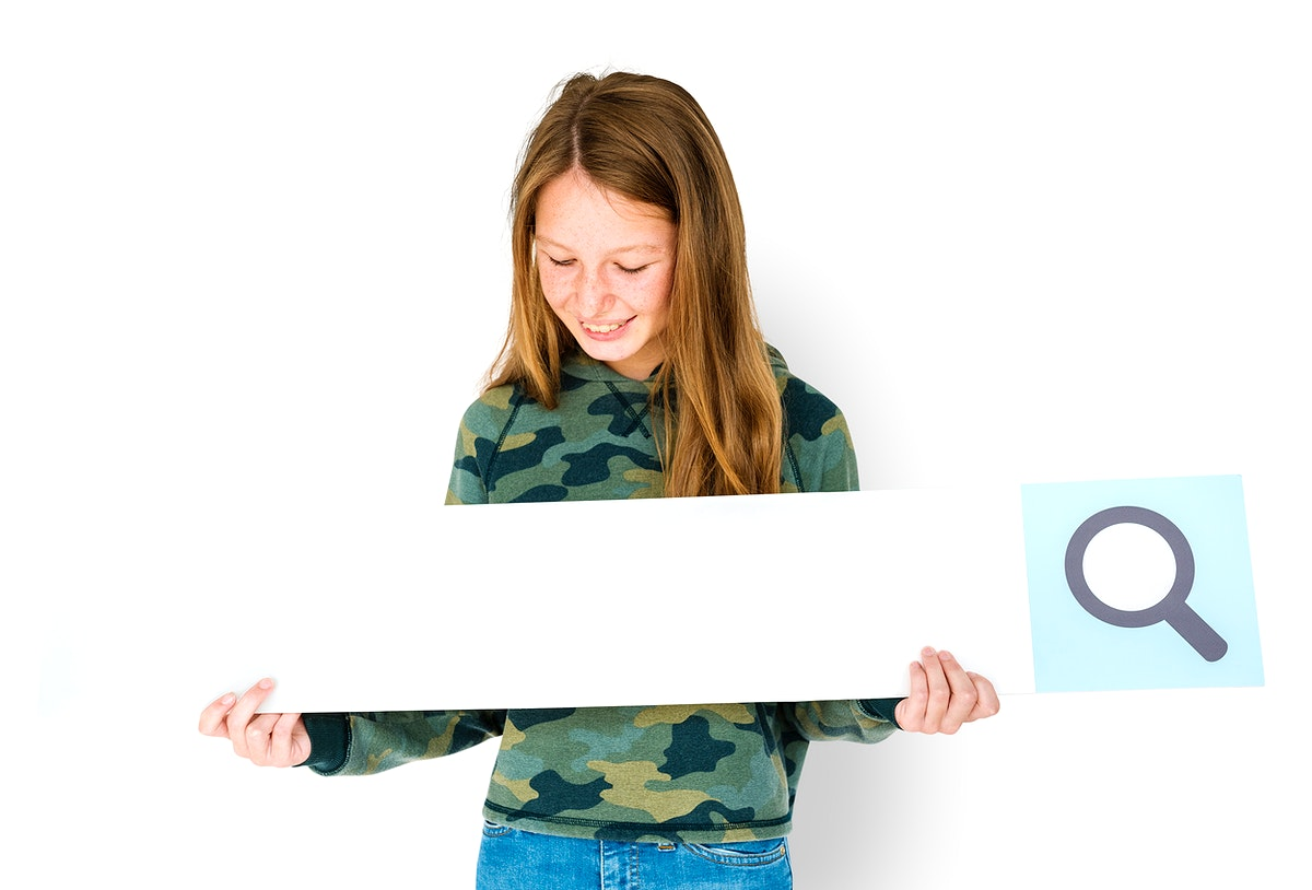 Young woman holding a search bar mockup