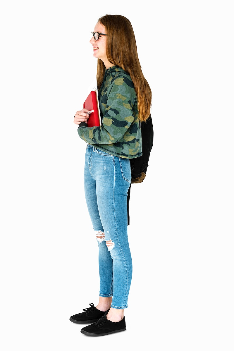 Young Adult Holding Books and School Bag Studio Portrait