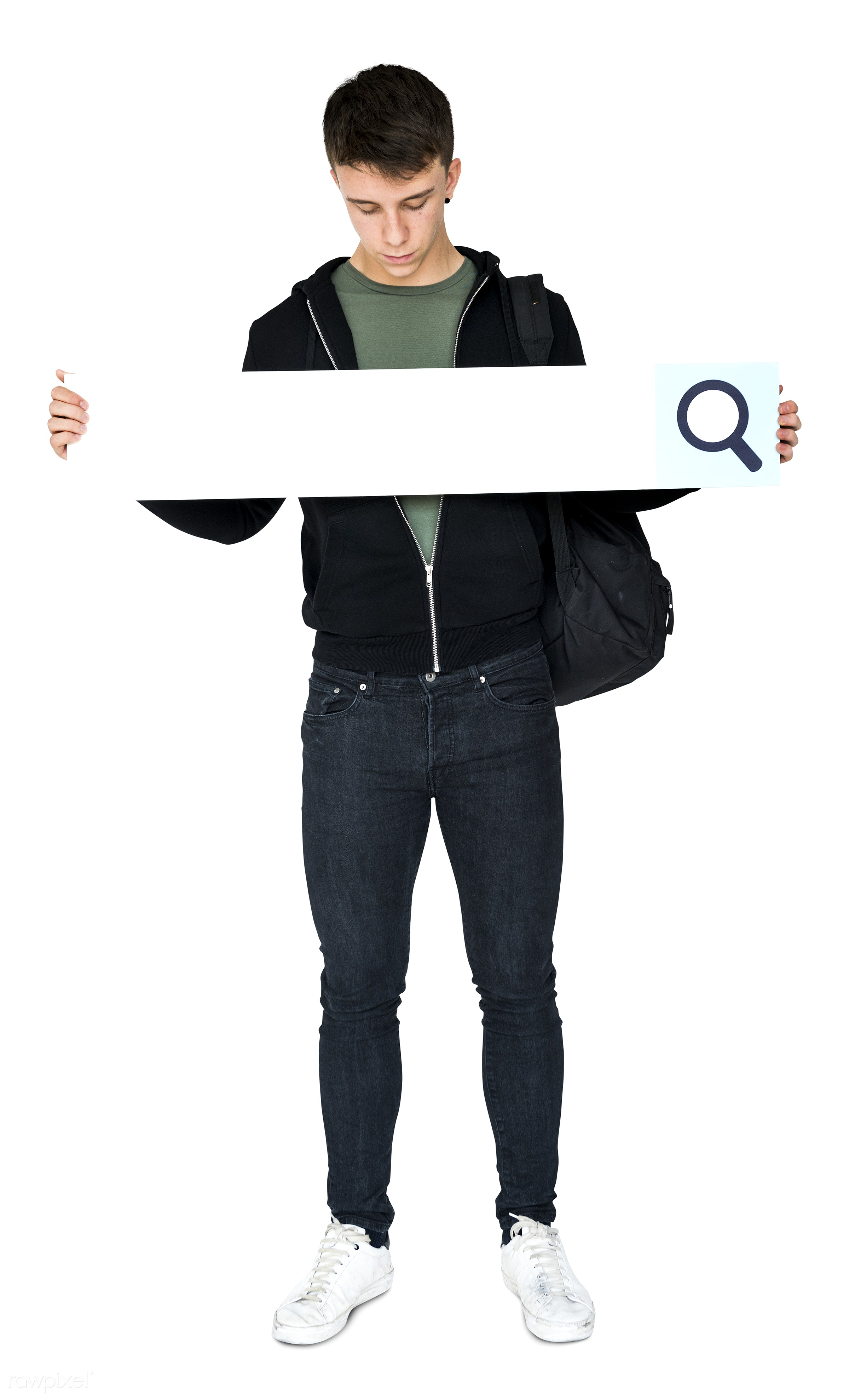 placard, adult, background, banner, blank, browsing, casual, copy space, guy, holding, isolated, isolated on white,...