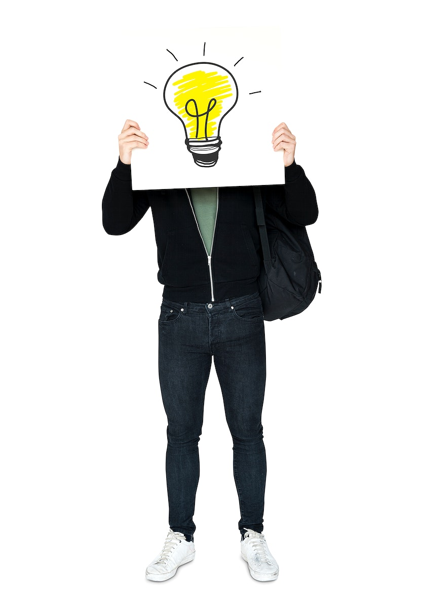 Man holding banner with light bulb symbol cover his face