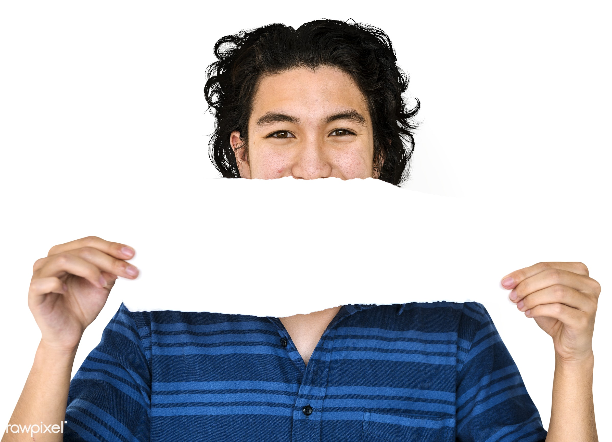 adult, asian ethnicity, background, banner, blank, casual, cheerful, copy space, cover mouth, guy, holding, isolated,...