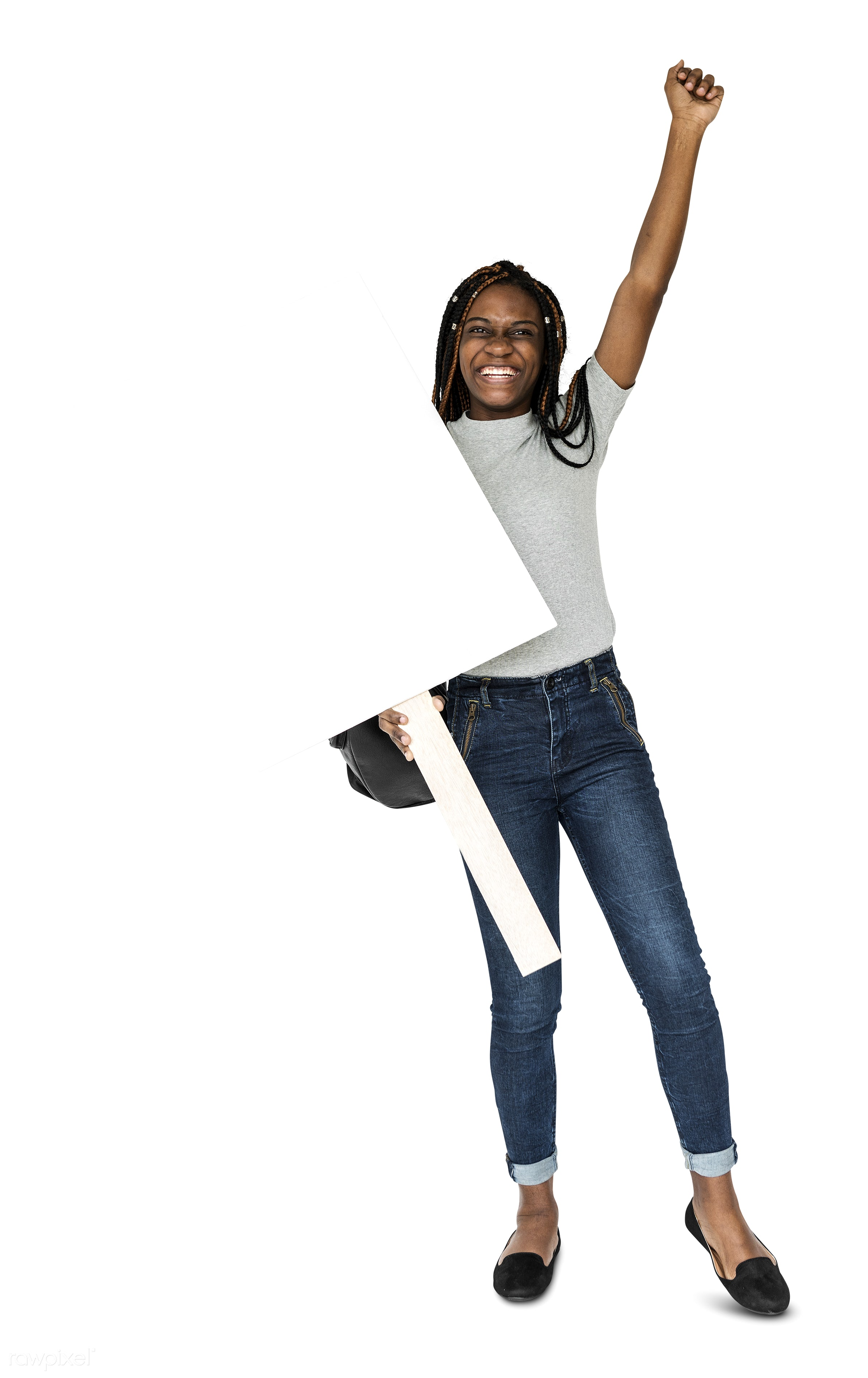 adult, african descent, arms raised, background, banner, blank, casual, cheerful, copy space, female, gesture, girl, holding...