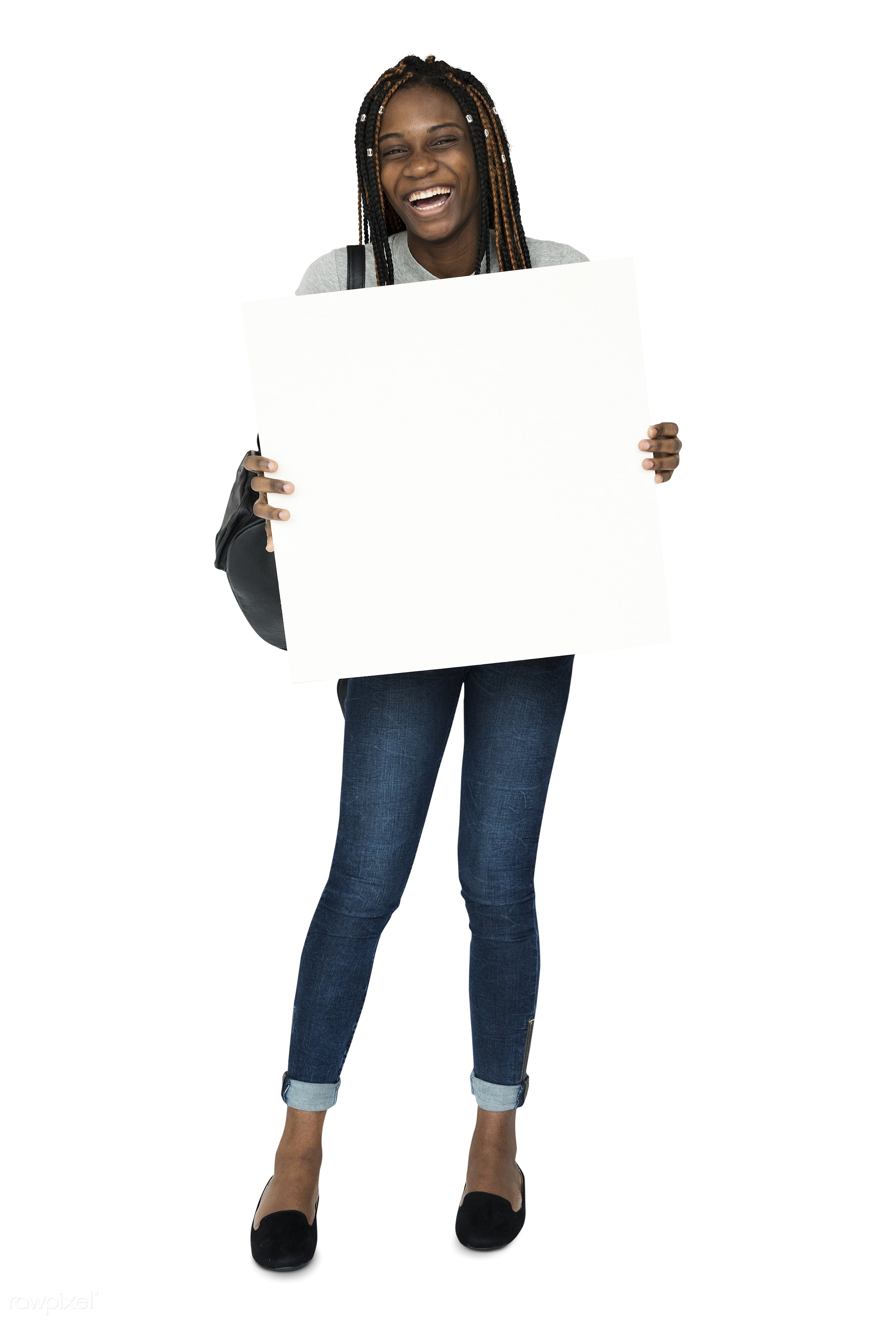 advertising, african descent, alone, black, blank, board, cheerful, copy space, empty, female, full body, full length, girl...