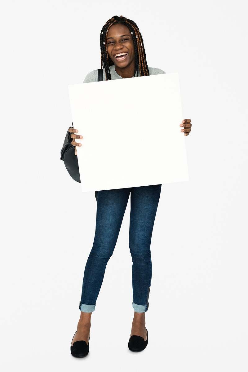 African woman holding copyspace placard