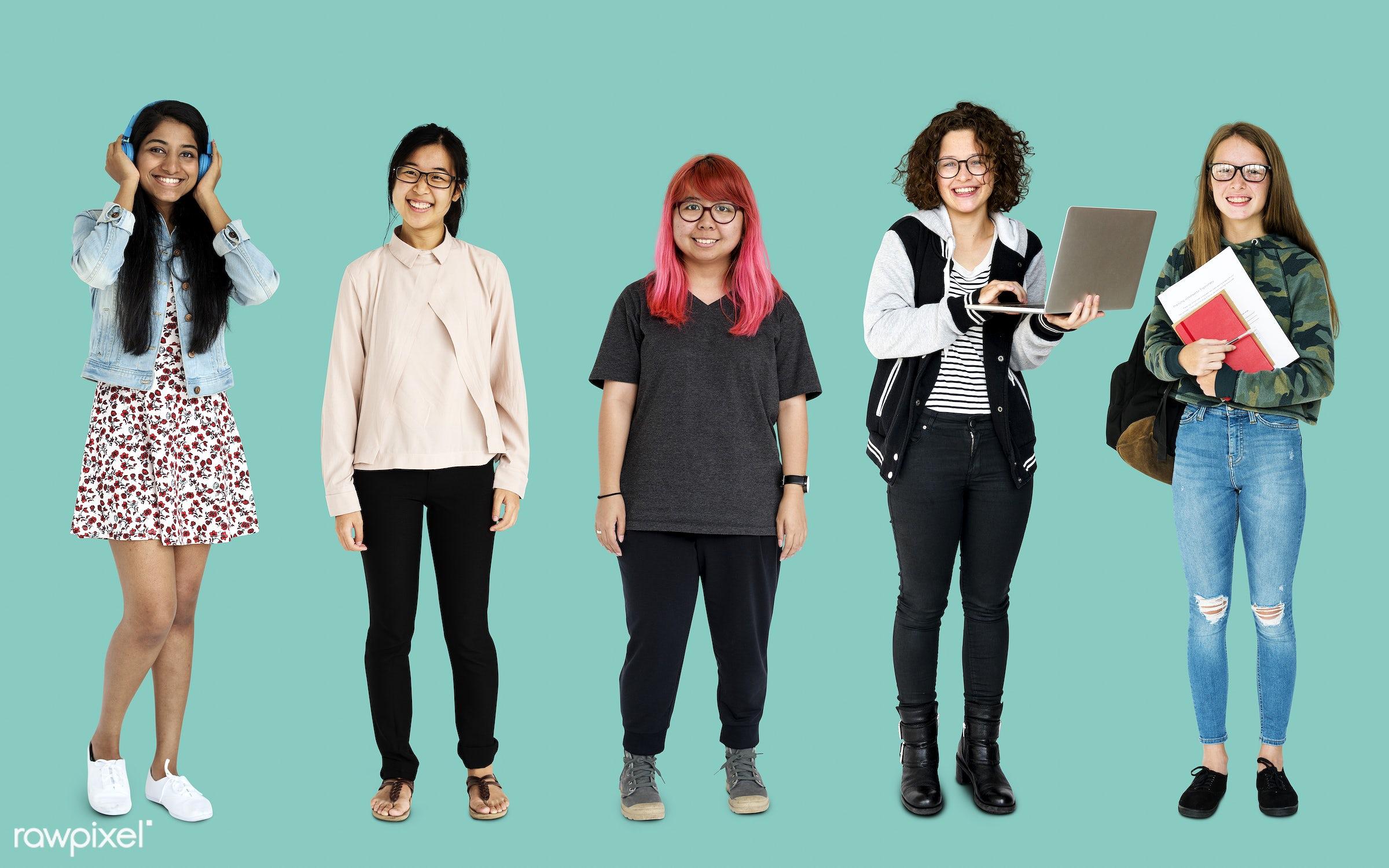 studio, person, diverse, set, entertain, millennials, collection, recreation, people, pretty, teenage, caucasian, asian,...