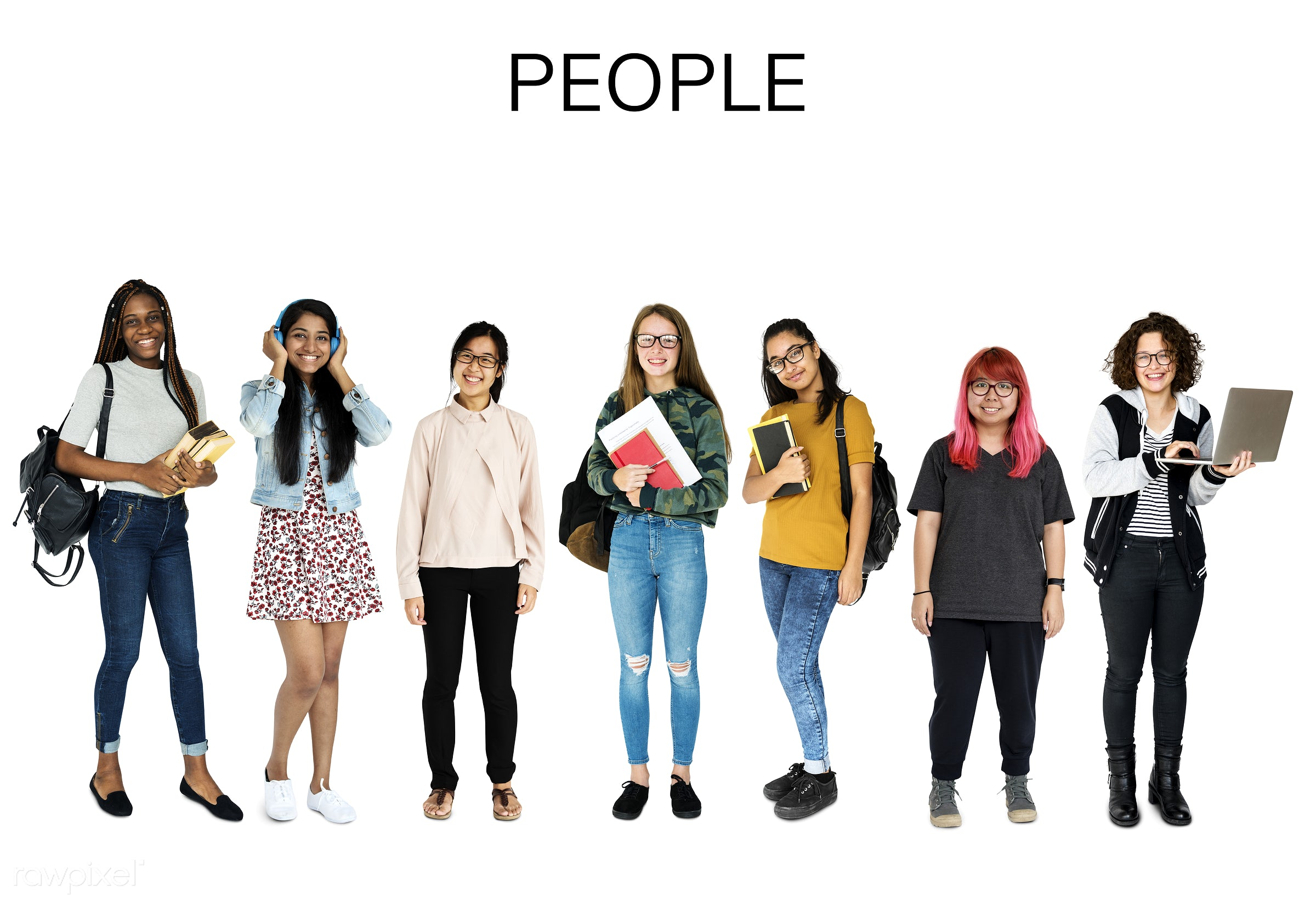 Diverse people set - studio, person, diverse, set, entertain, millennials, collection, recreation, people, pretty, teenage,...