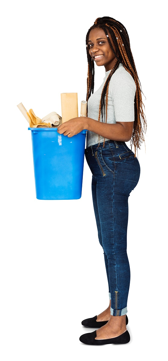 Young Adult Woman Holding Recyclable Papers Studio Portrait