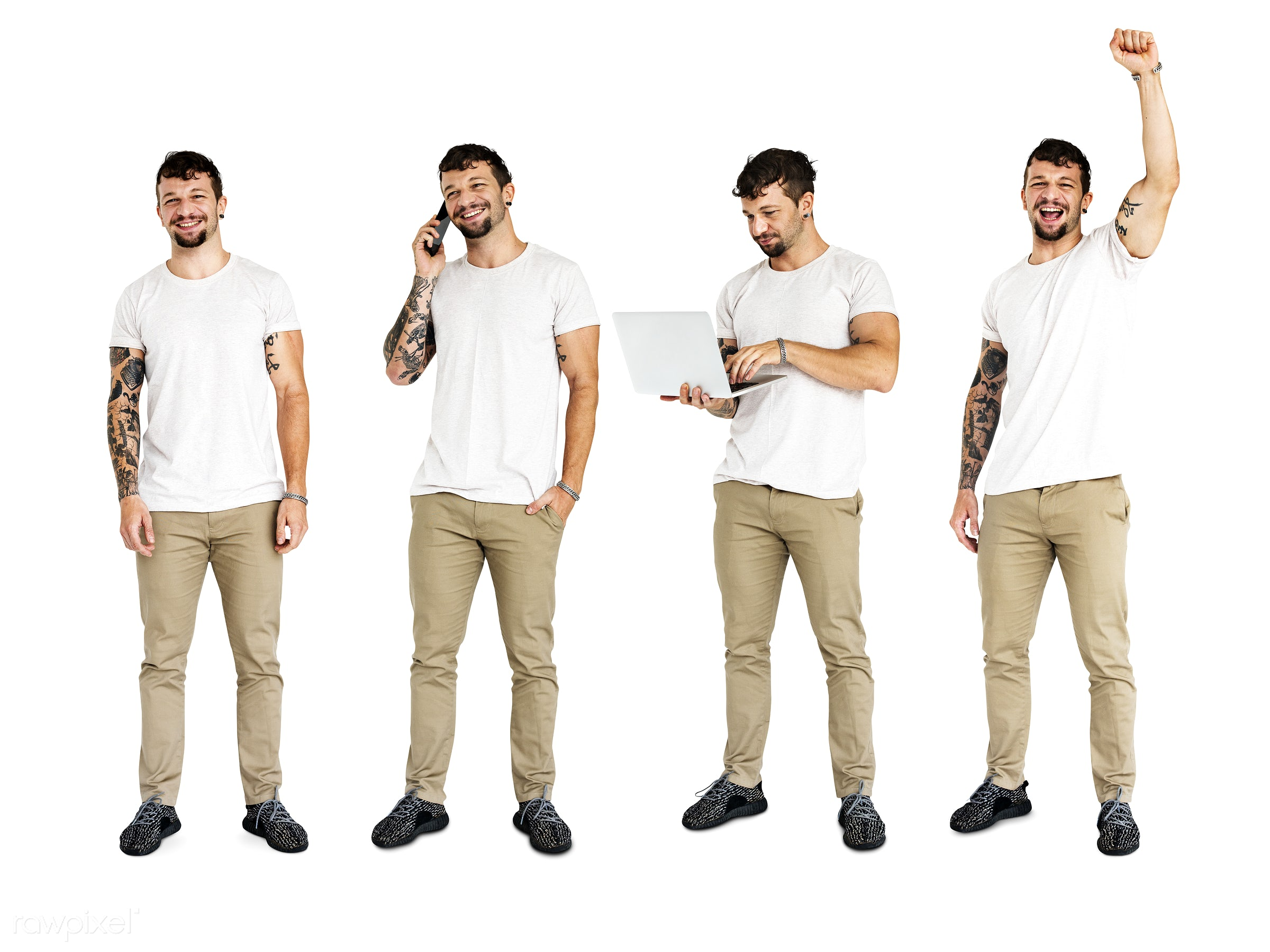 Diverse people set - gentlemen, studio, person, phone, diverse, relax, people, attraction, caucasian, solo, lifestyle,...