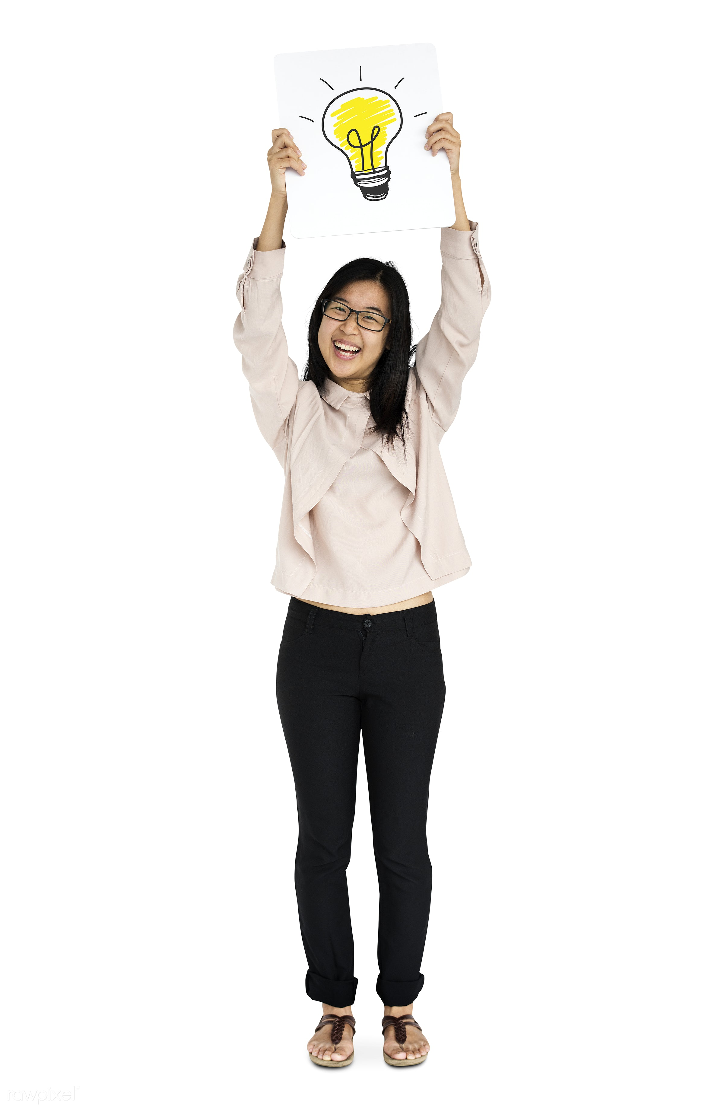idea, woman, asian, background, casual, cheerful, copy space, ethnic, ethnicity, eyeglasses, female, femininity, happiness,...