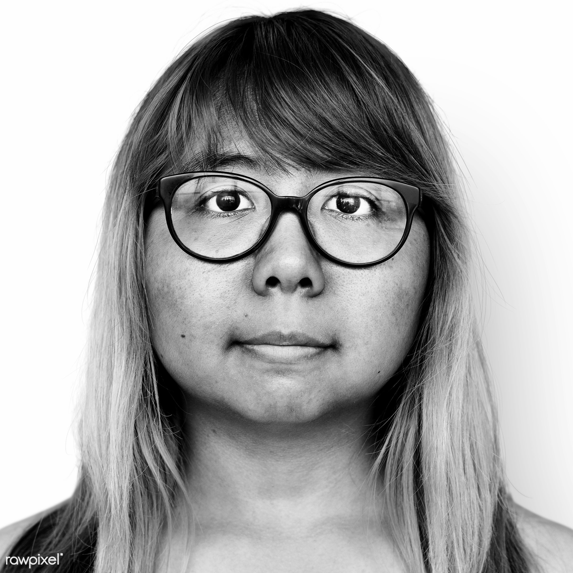 Portrait of a Thai woman - alone, asia, asian, bared chest, black and white, dyed hair, emotion, expression, eyeglasses,...