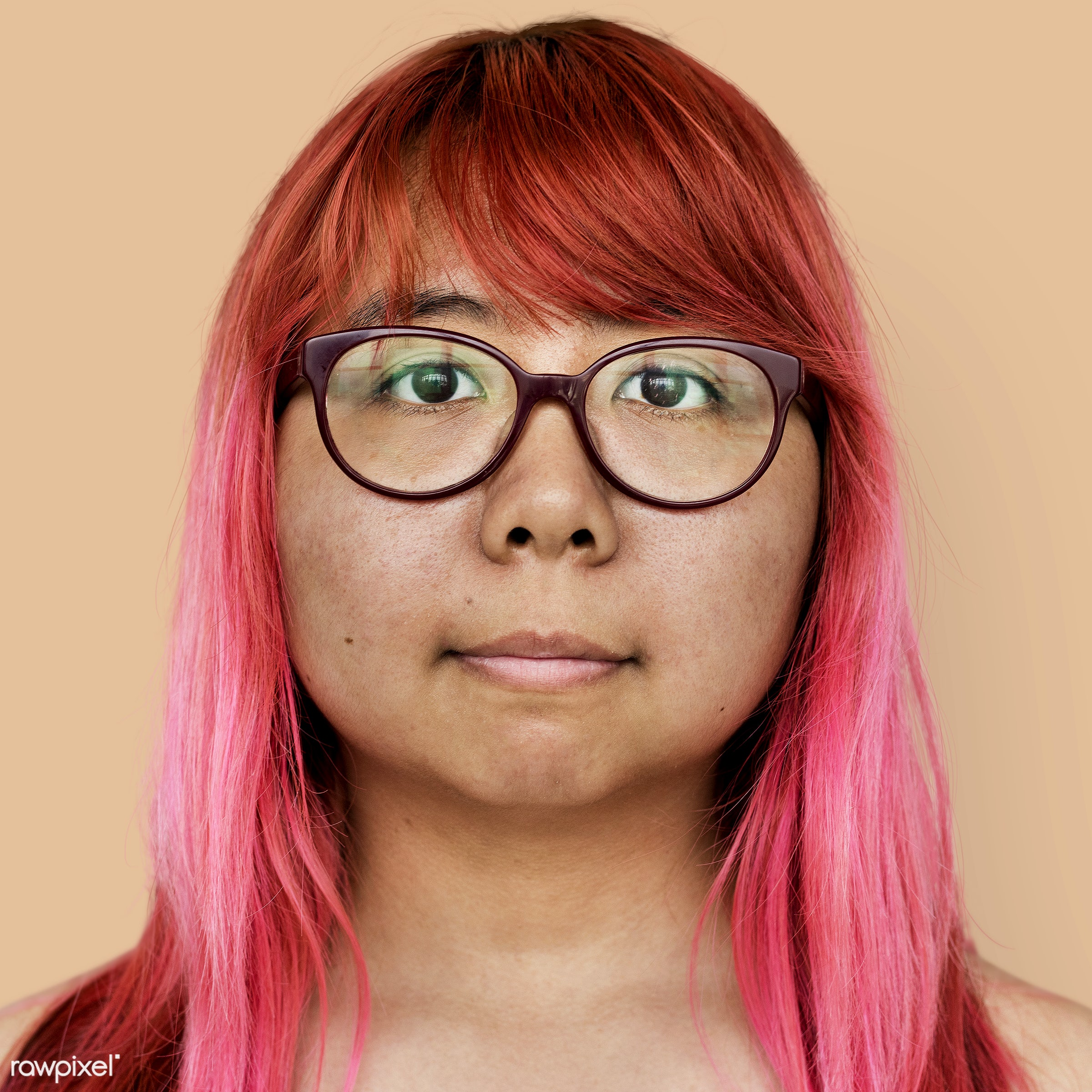 Portrait of a Thai woman - alone, asia, asian, bared chest, dyed hair, emotion, expression, eyeglasses, face, feeling, girl...