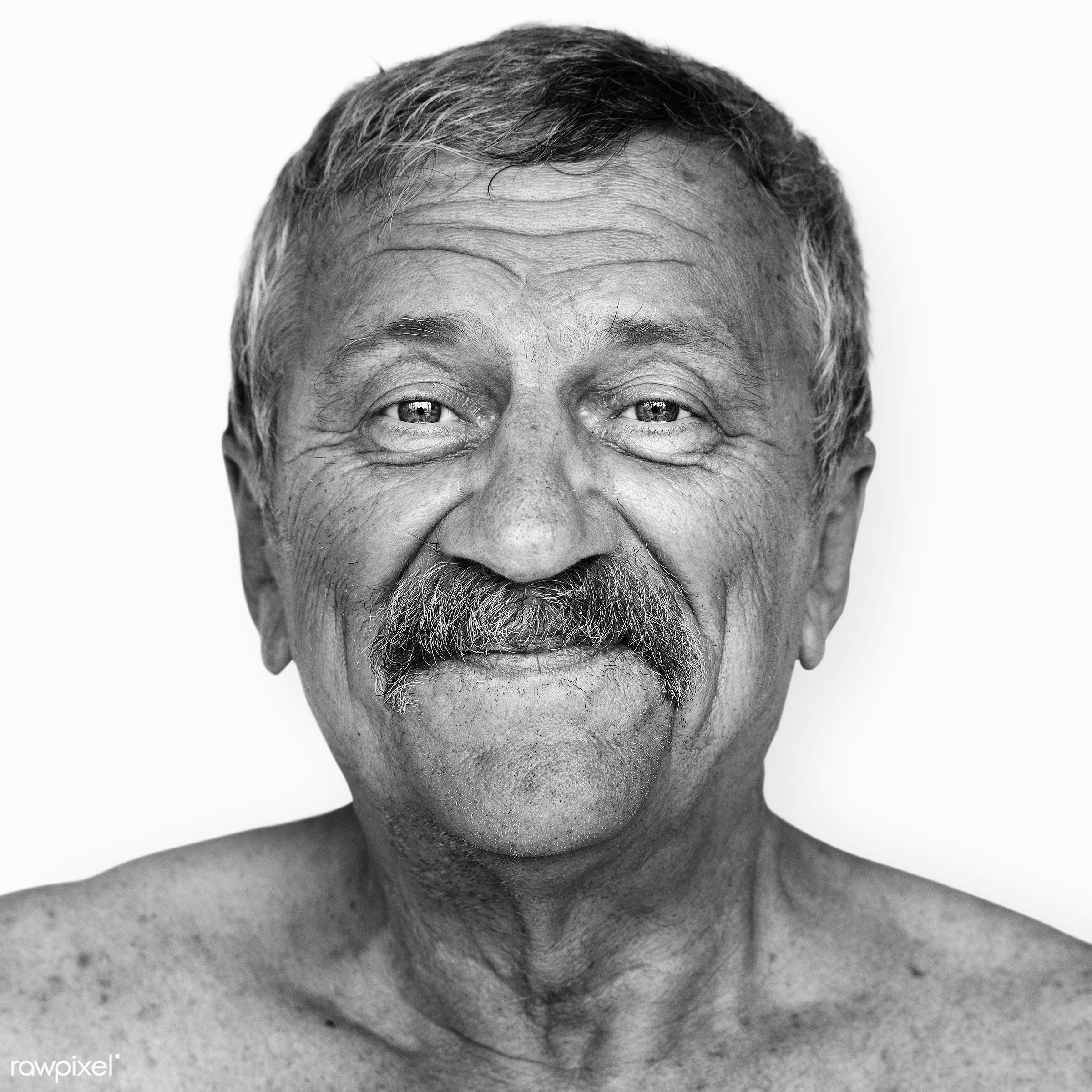 Portrait of an American man - usa, america, american, black and white, close up, elderly, expression, face, grayscale, guy,...