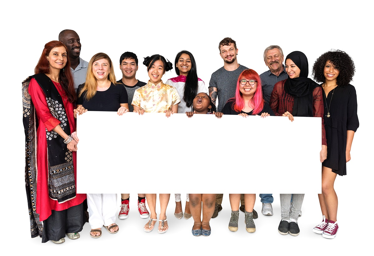 Group of diversity people holding copyspace empty board