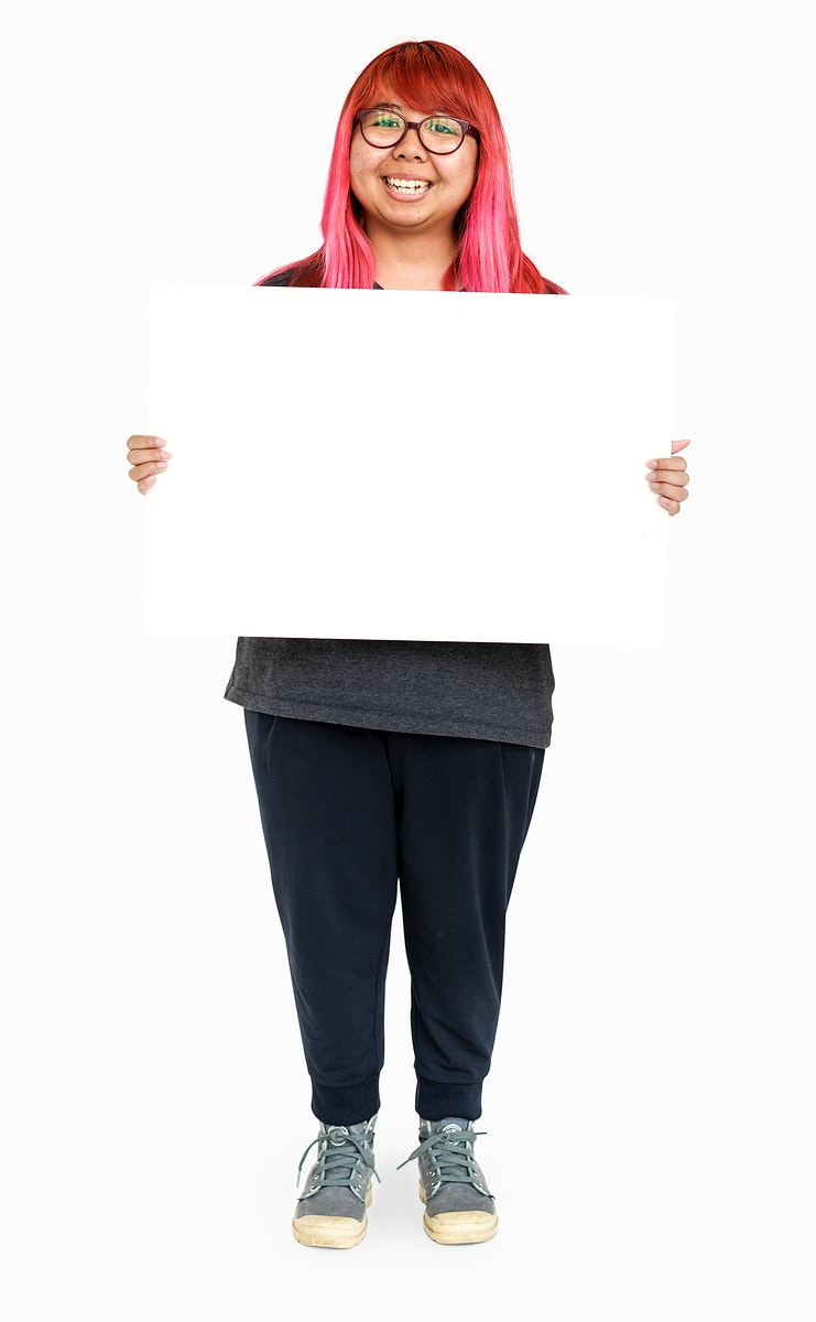 Young woman pink hair holding empty board for communication advertising
