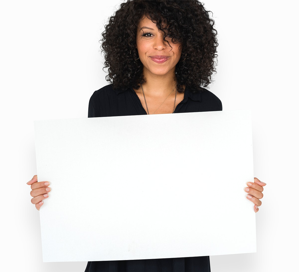 Woman holding empty board for communication advertising