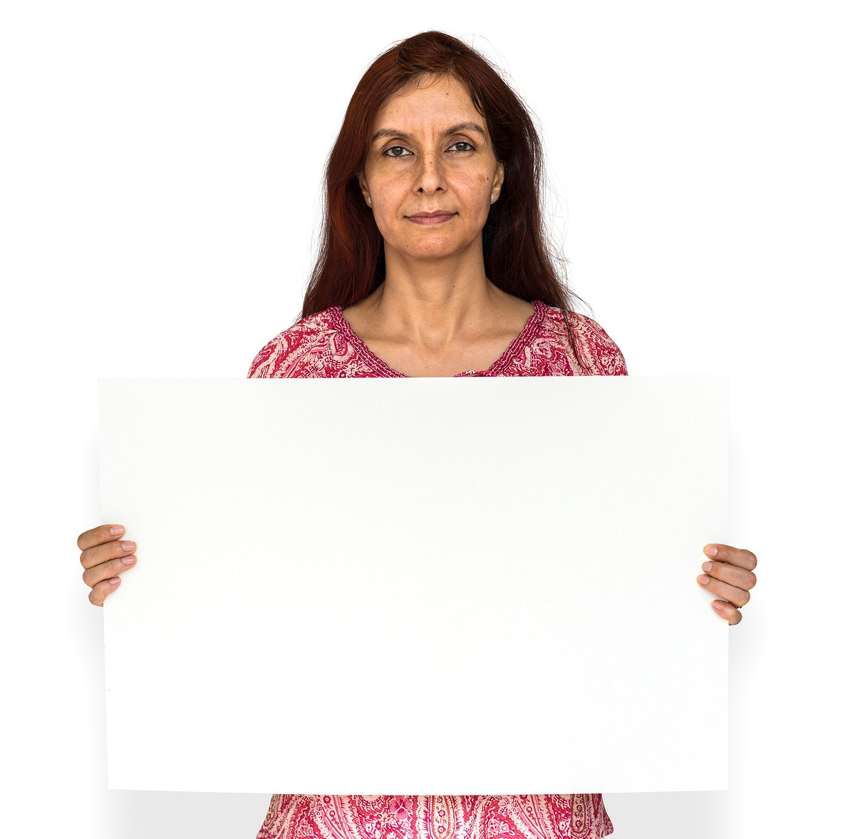 Indian woman is holding a placard