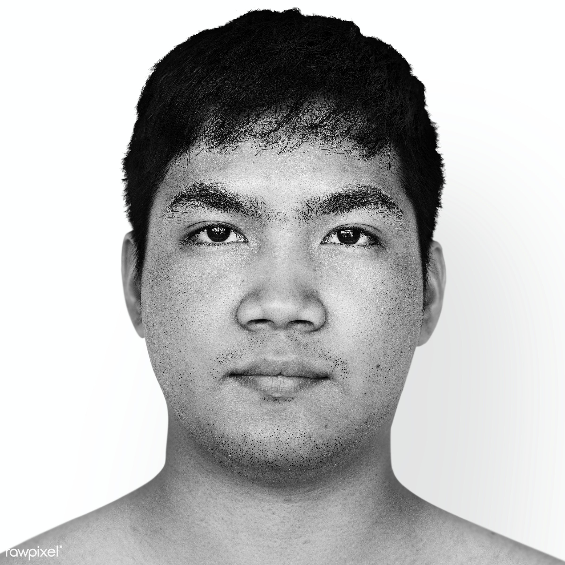 Portrait of a Thai man - asia, asian, black and white, expression, face, grayscale, guy, isolated, look, looking, man,...