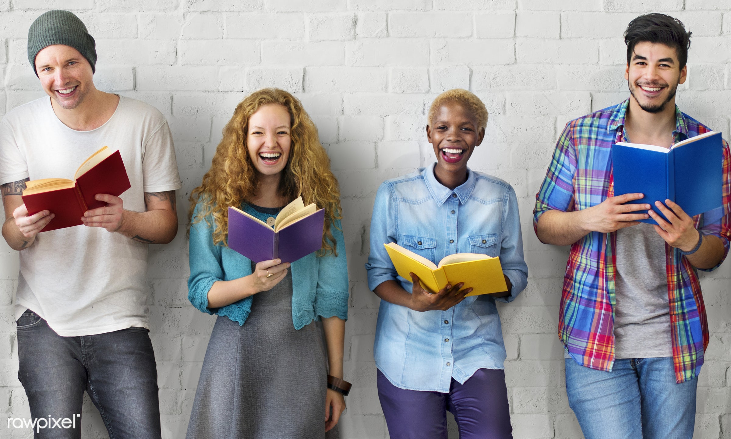 Group of diverse people are studying together - african american, african descent, asian, black, books, caucasian, cheerful...