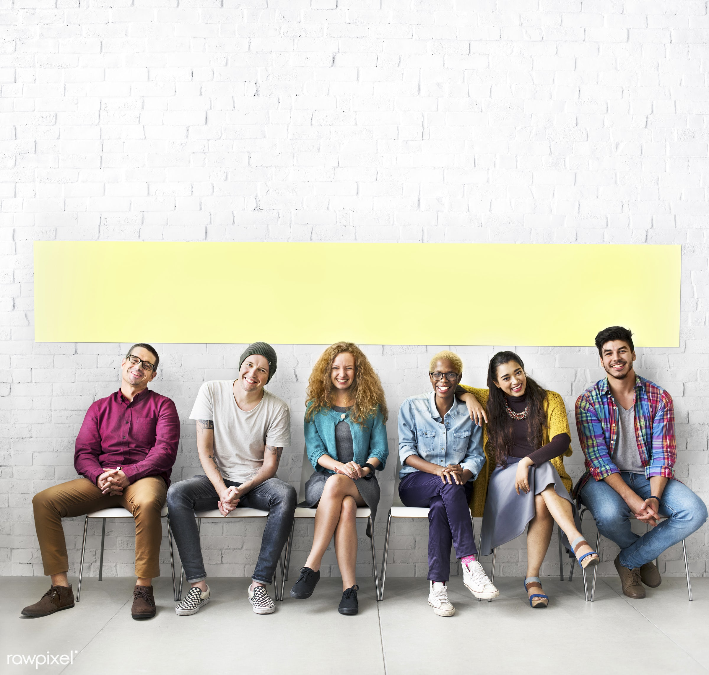 adult, african descent, boys, brick wall, chairs, cheerful, closeness, colleagues, different, diverse, diversity, fashion,...