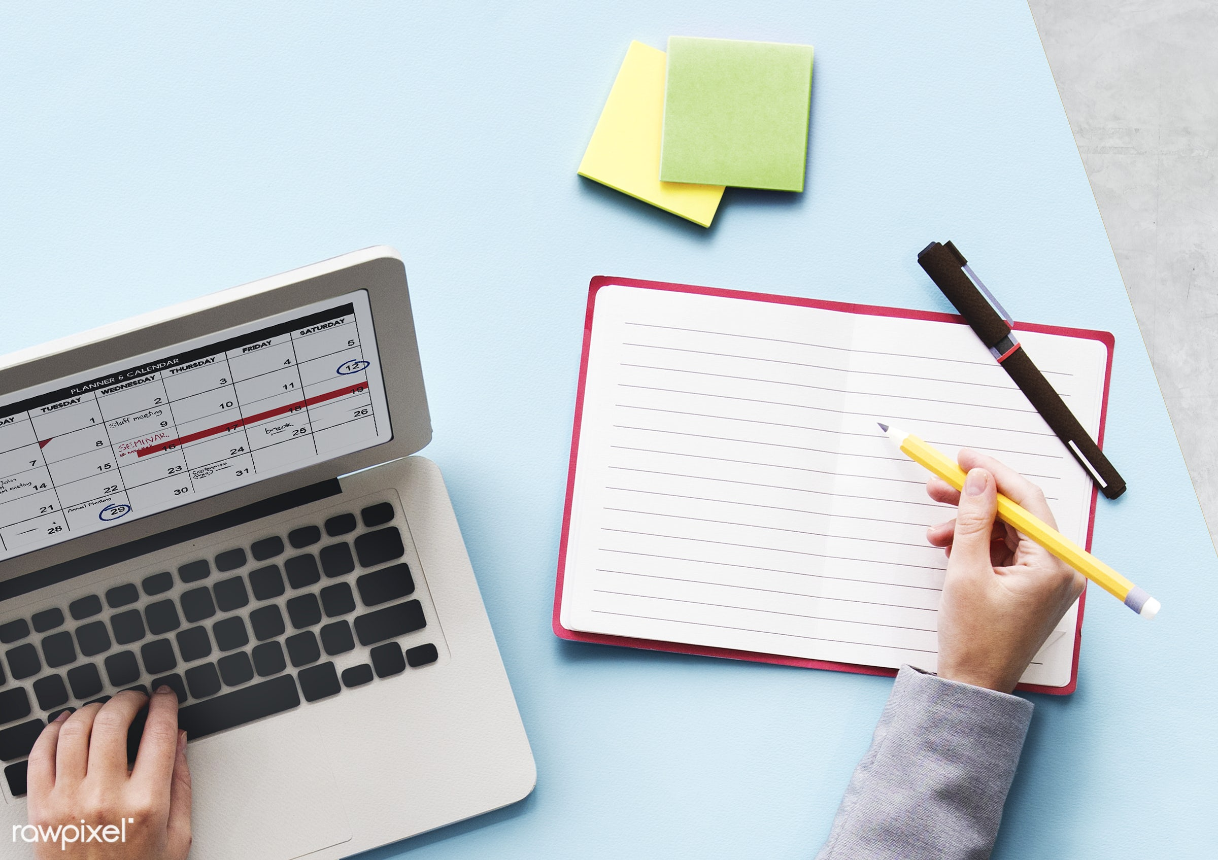 calendar, notebook, computer, business, schedule, aerial, agenda, appointment, career, data, dates, days, desk, graphics,...