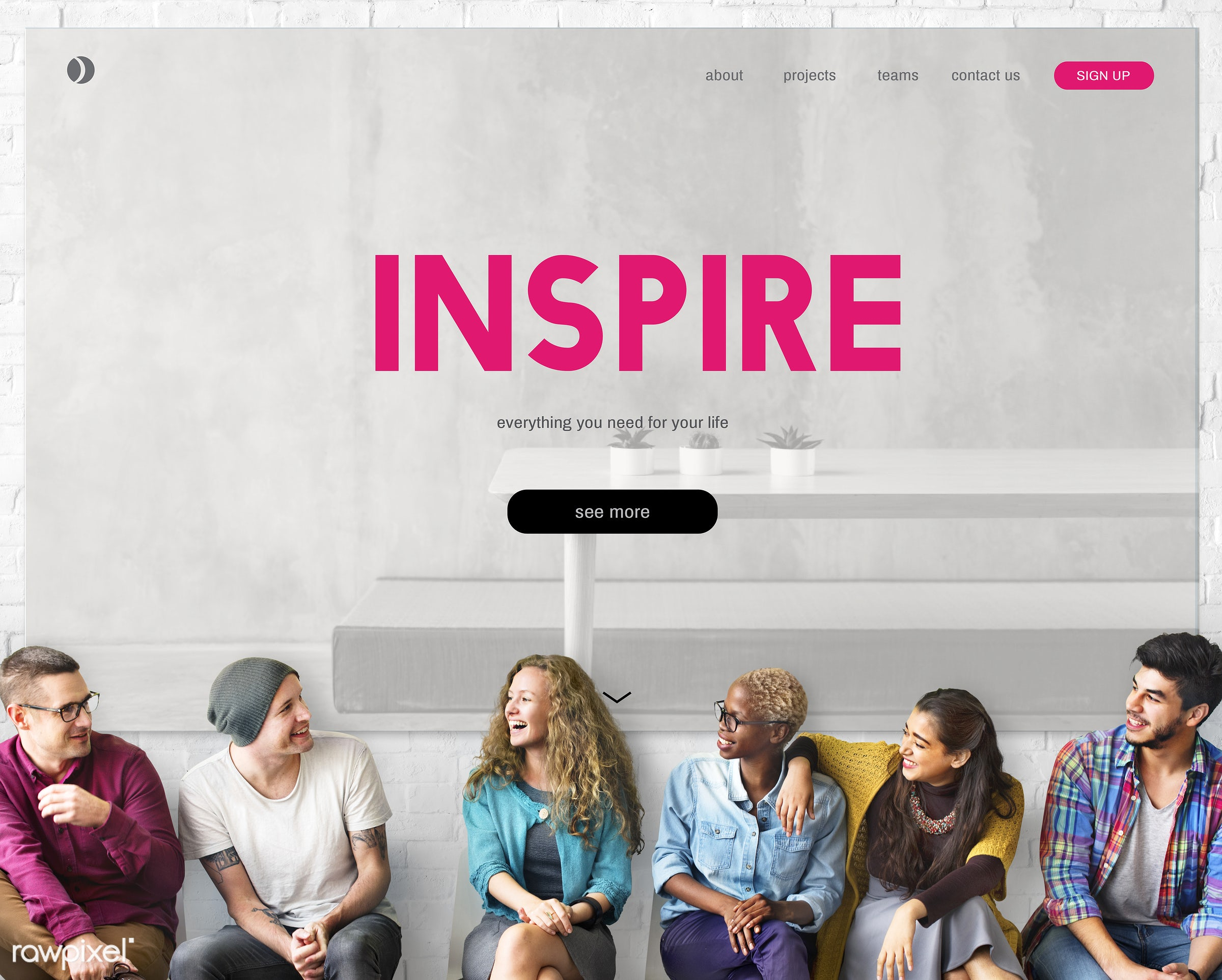 Group of diverse people are sitting together with inspiration - inspire, asian, african american, african descent, black,...