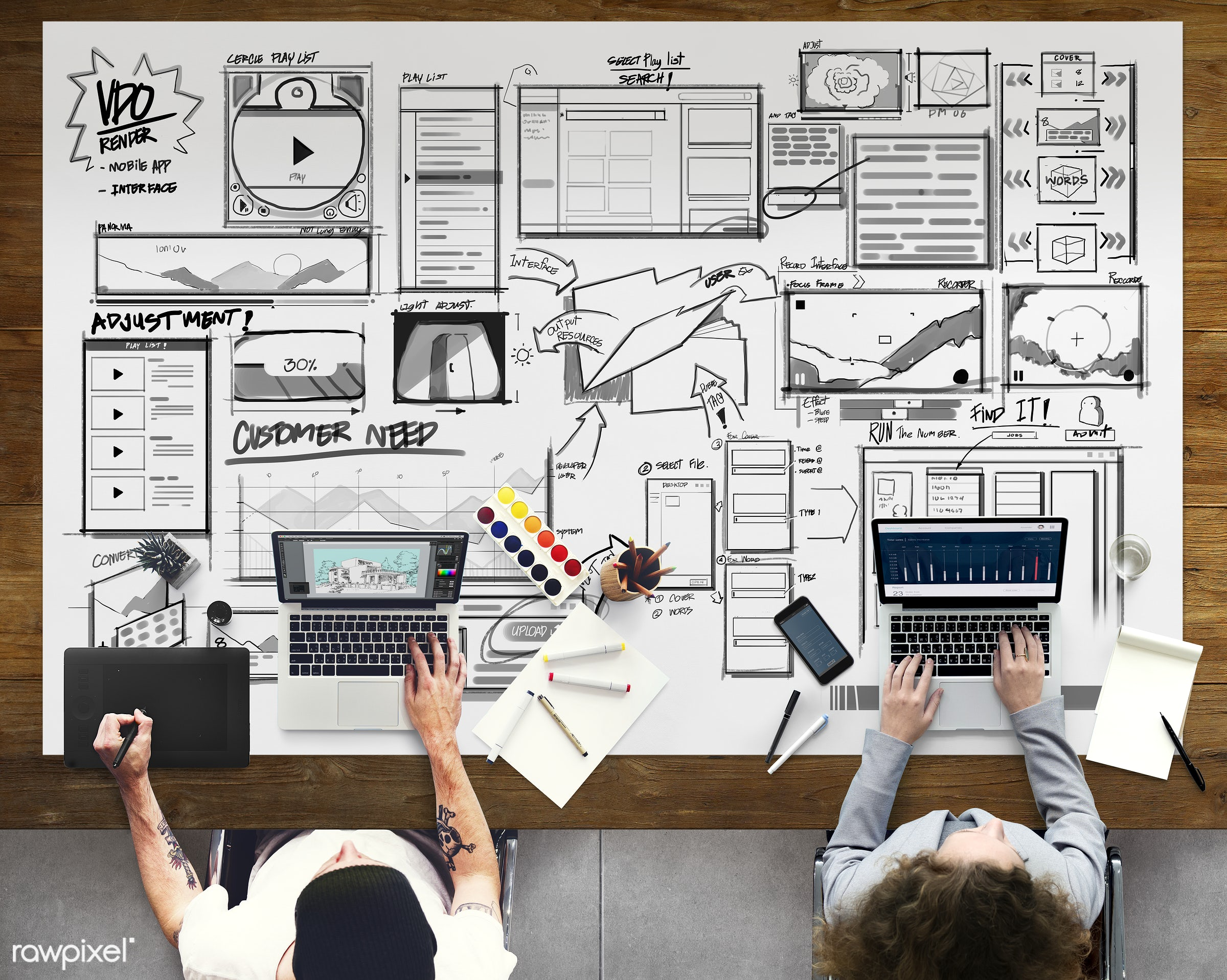 Diverse people are working - ux, pen, aerial, analysis, business, computer, design, designer, device, digital, digital...