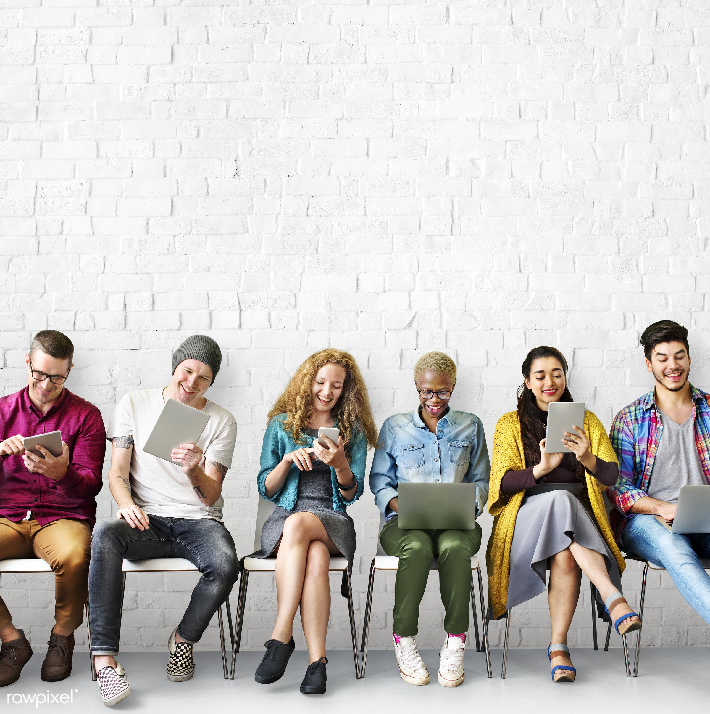 academic, adult, african descent, body, boys, brick wall, casual, chairs, closeness, colleagues, connecting, device, digital...