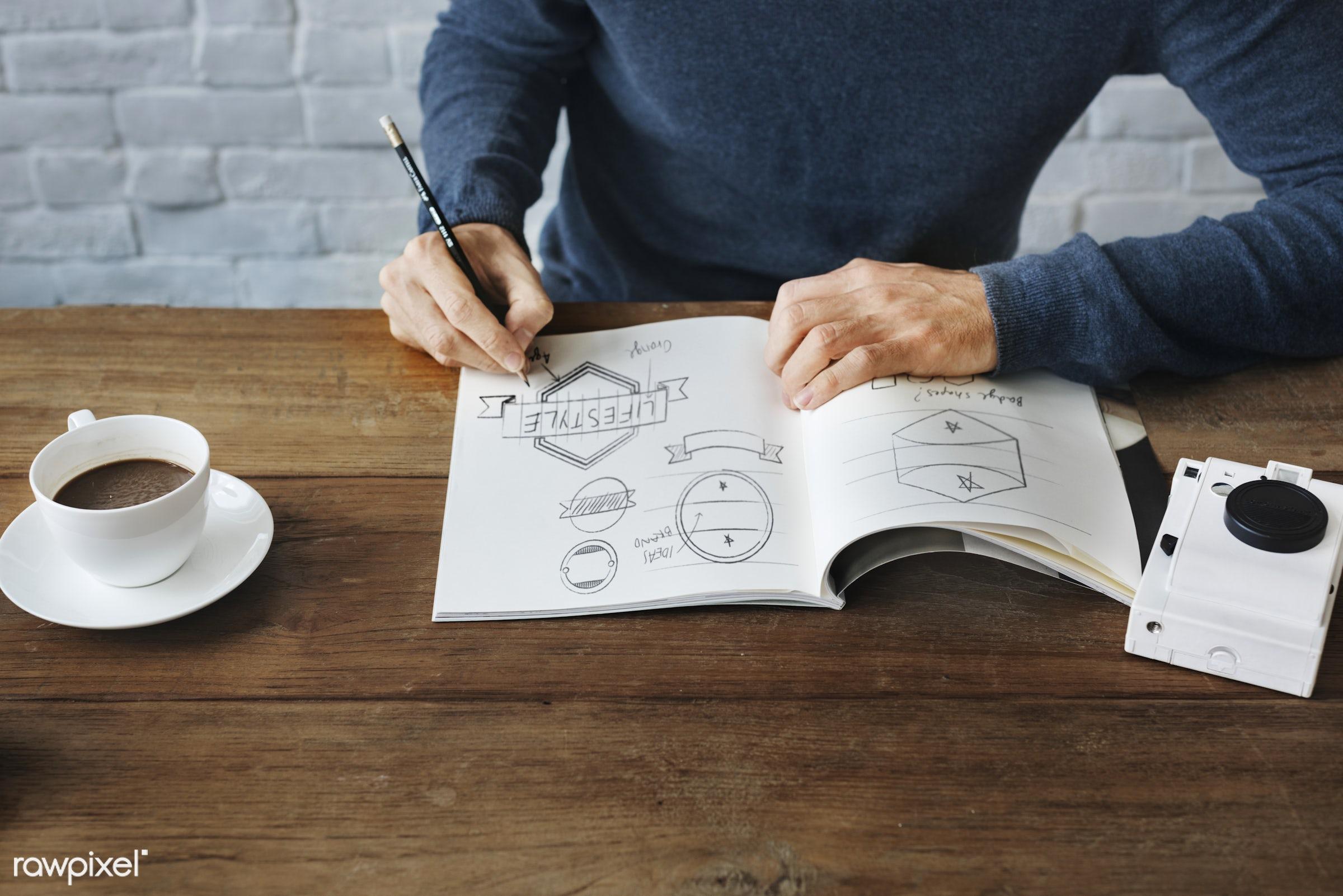 cup, handicraft, drawing, artwork, closeup, notepad, ideas, coffee, camera, create, drawing book, pencil, badges, sitting,...