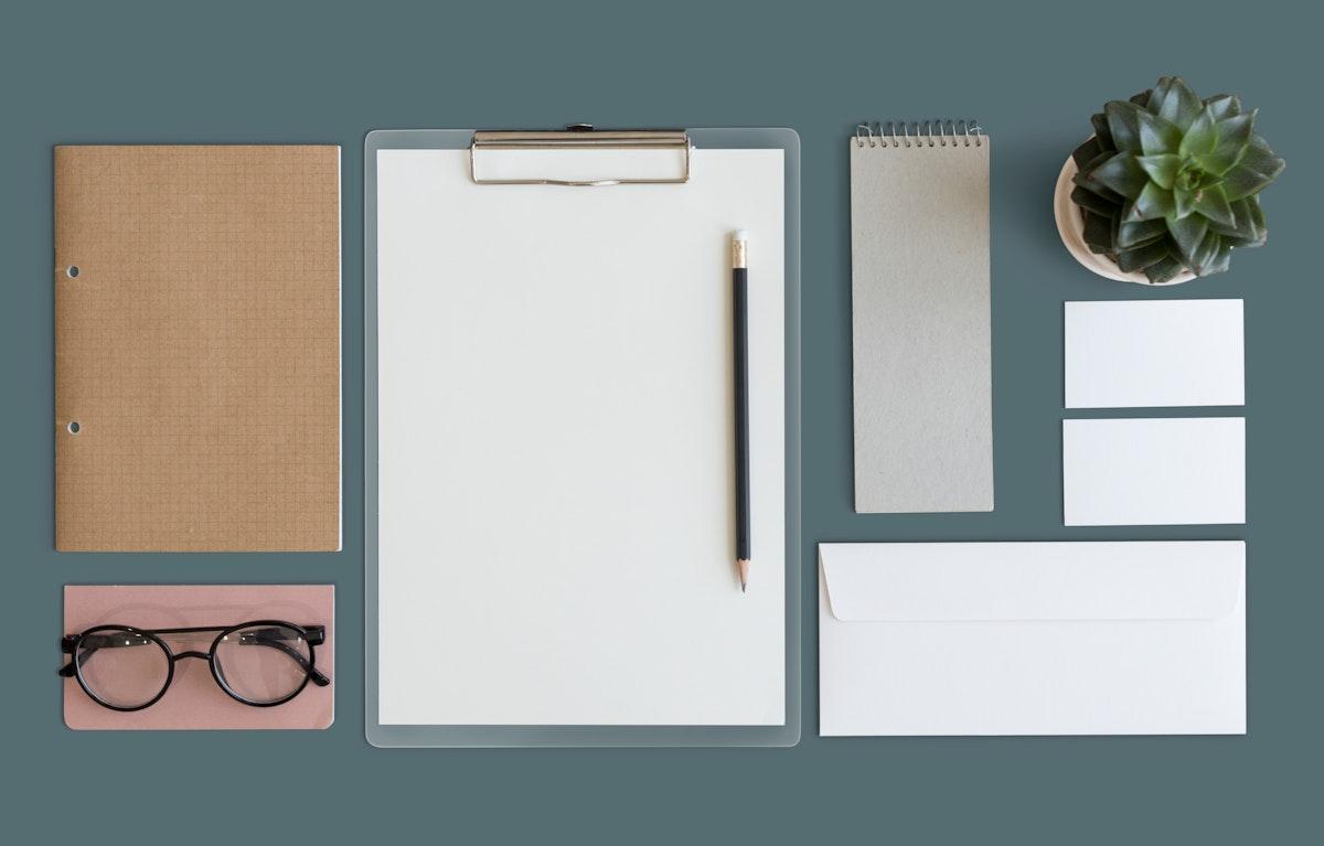 Minimalist workspace mock-up