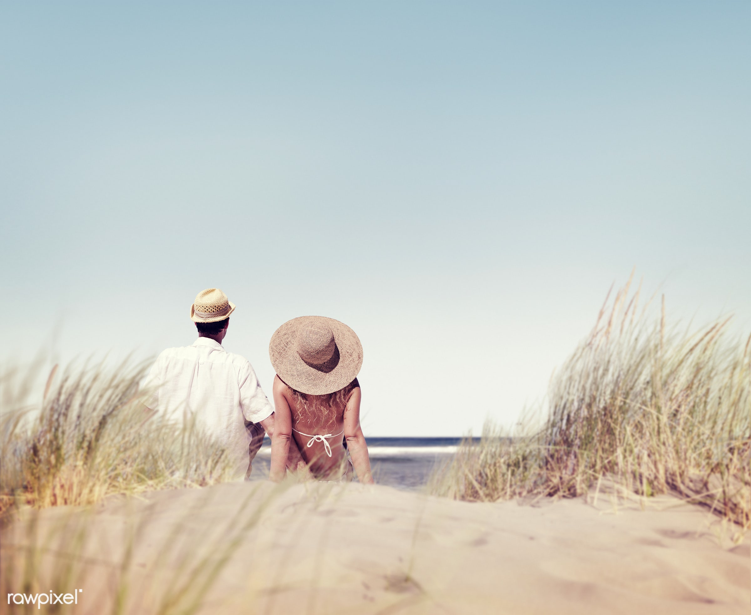relax, beach, together, coast, love, partners, spouse, couple, dating, skyscape, rear view, sand, grass, girlfriend, leisure...