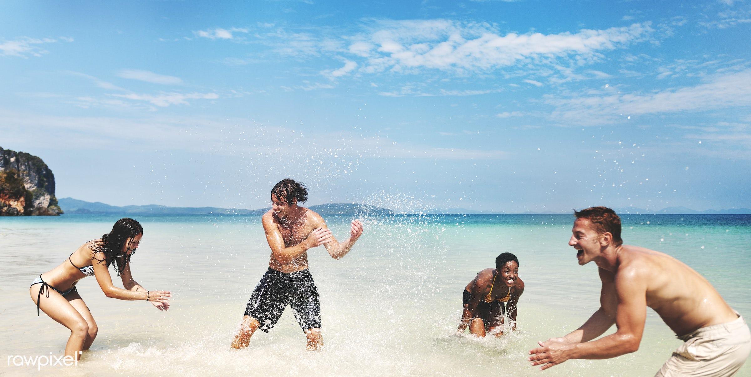 diverse, tropical, ocean, beach, people, playing, sky, friends, cheerful, water, enjoying, sea, leisure, fun, holiday,...