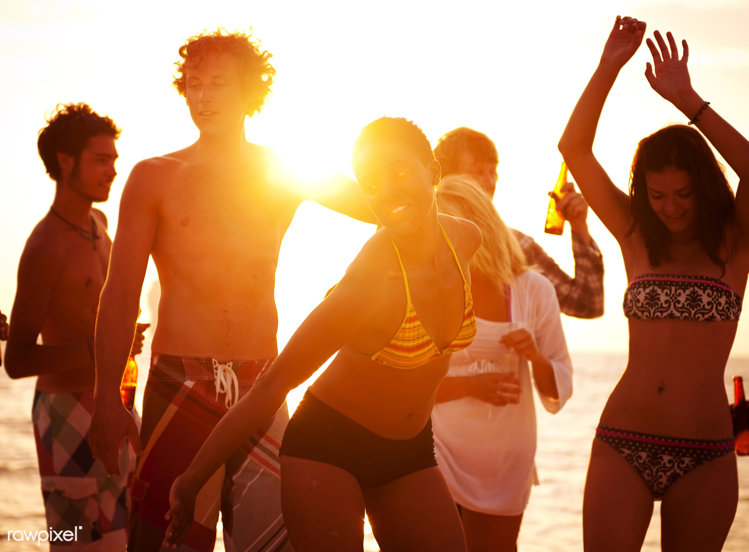 freedom, leisure activity, drinking, silhouette, travel, beach, bikini, party, people, young adult, teenager, friendship,...