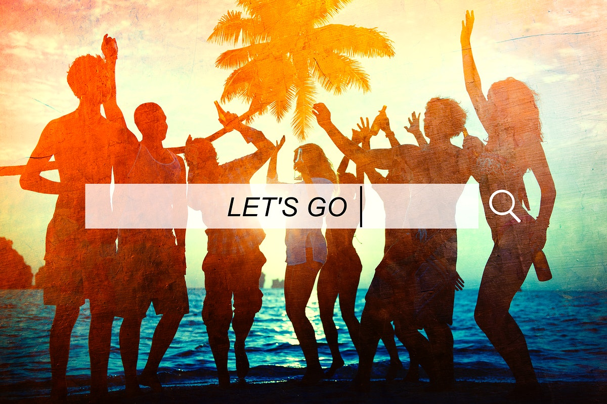 Let's Go text on a search bar beach party people background