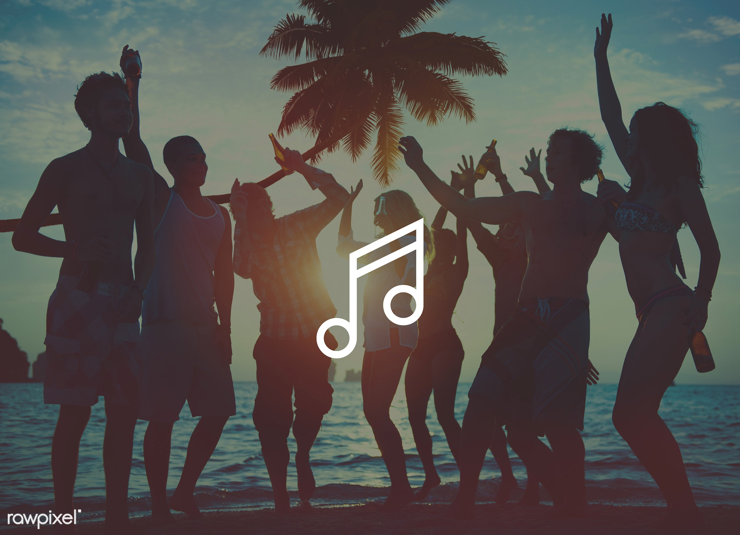 festive, dancing, drinking, silhouette, tropical, musical note, beach, party, people, friends, beer, festival, crowd, music...