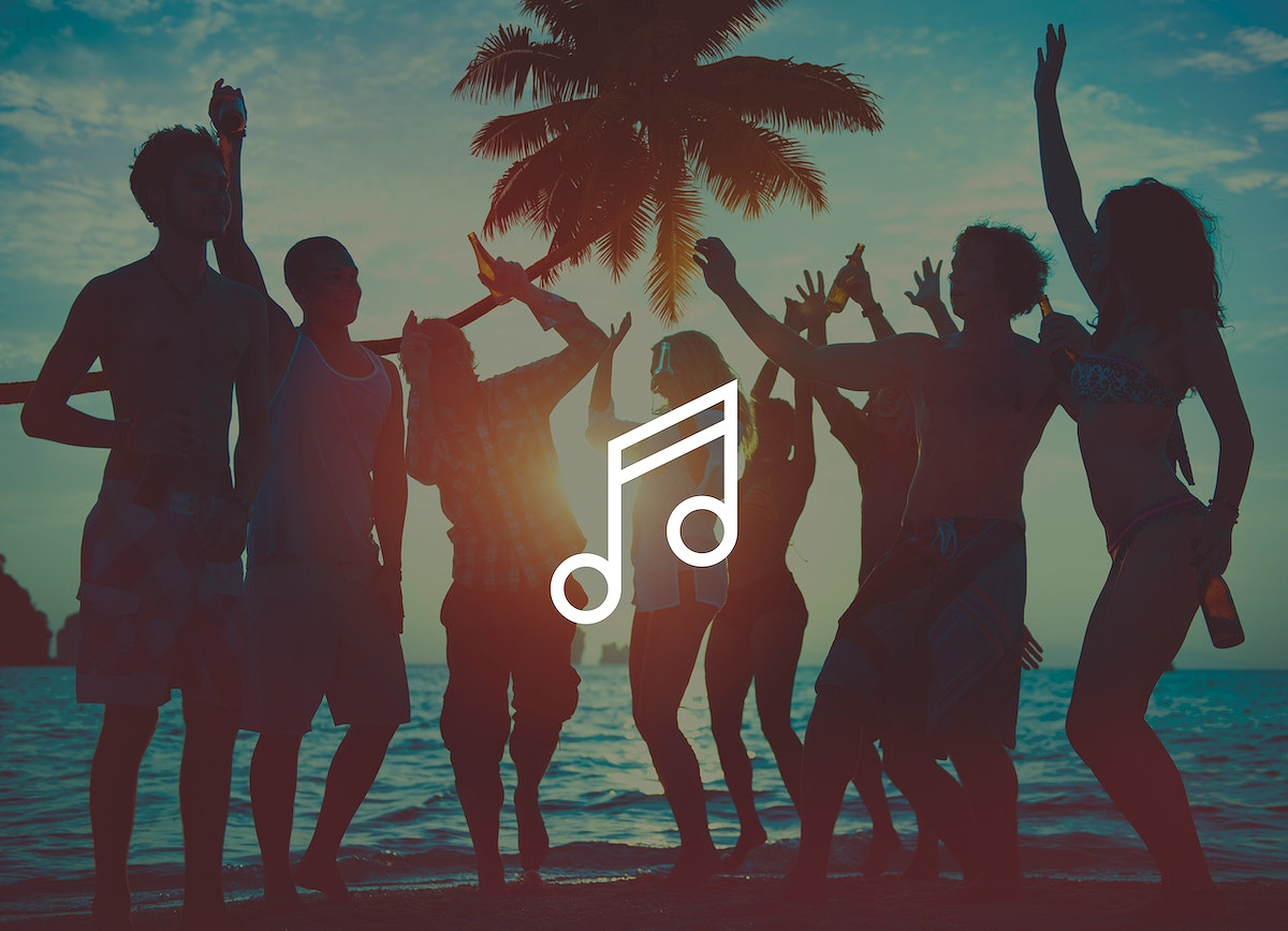 Musical note on beach party people background