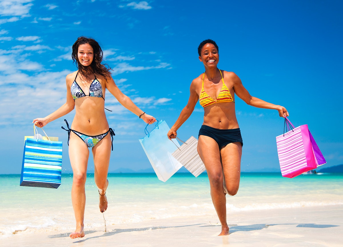 Diverse women are enjoying summer sale