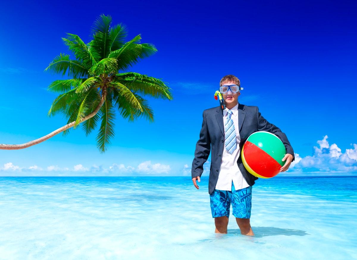 A Caucasian man is enjoying summer holiday
