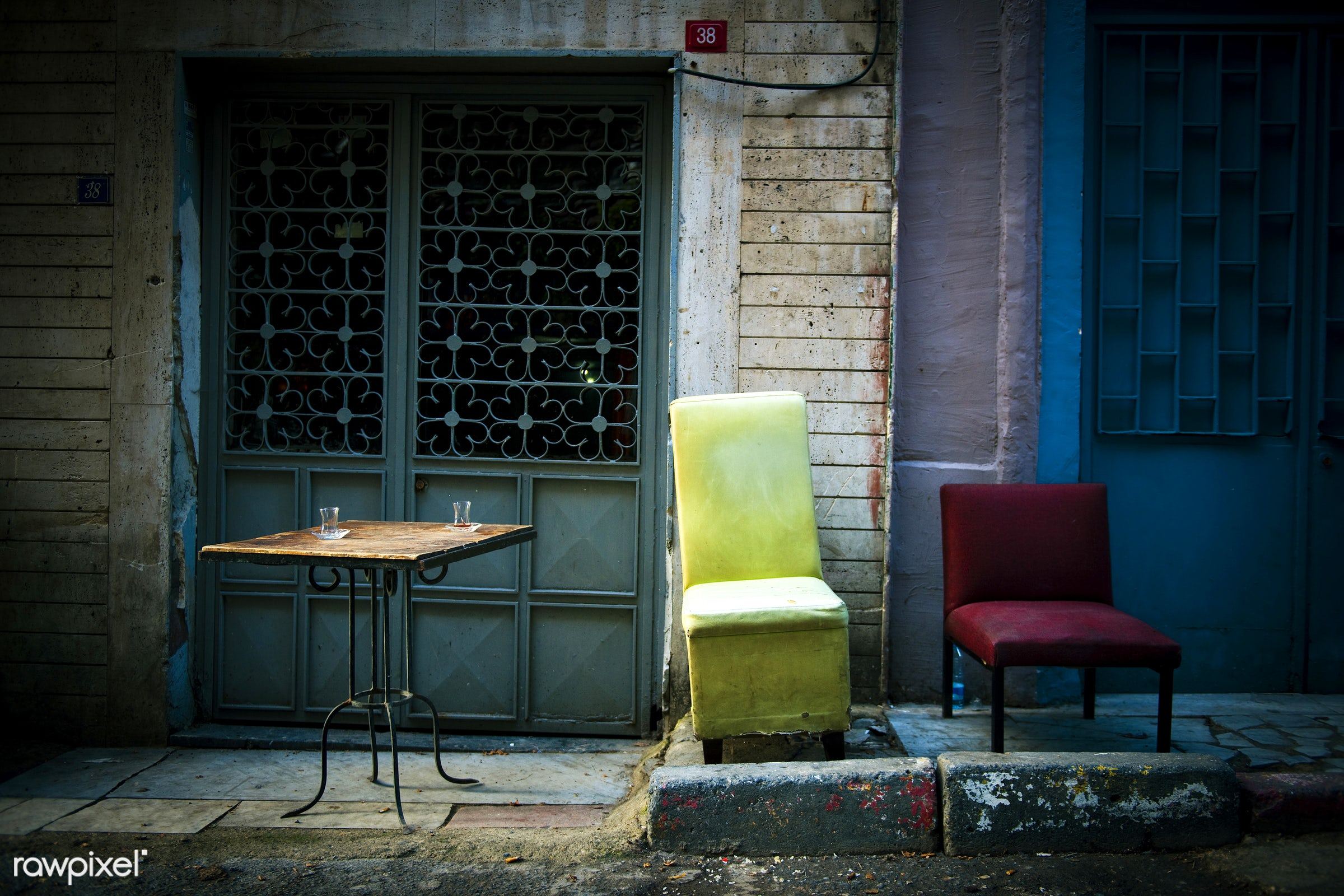 abandoned, cafe, chair, city break, coffee table, doors, facade, grunge, istanbul, lifestyle, nobody, objects, old, old-...