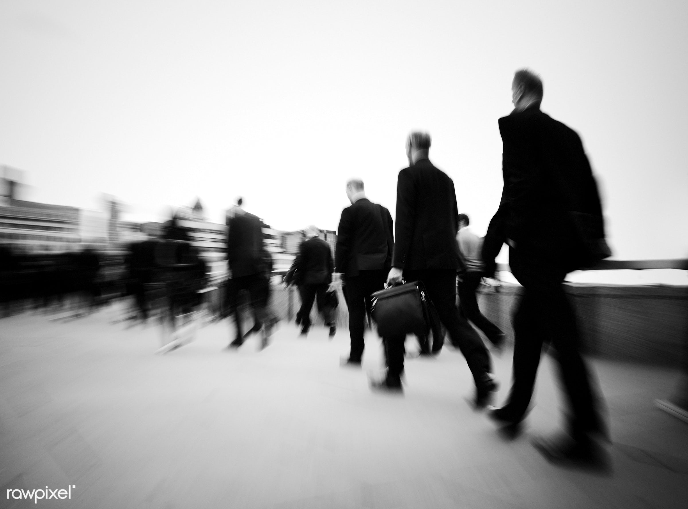Morning commuters Of London - business, london, city, suit, abstract, black and white, blurred motion, britain, business...