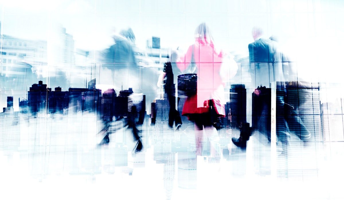 Abstract business people commuting in rush hour